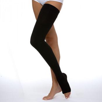 Компрессионные чулки 2 степени до бедра с открытым носком.  Цвета: крем, черный (унисекс).