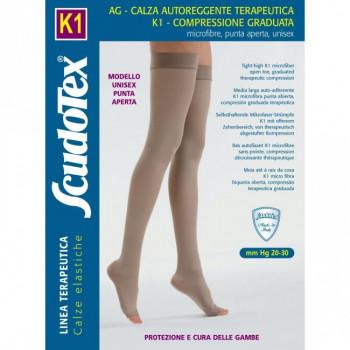 441 Чулки компрессионные 2 класс компрессии Скудотекс К1 (20-30 mmHg) с микрофиброй, открытый носок (мысок)
